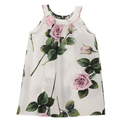 Floral print cotton poplin dress