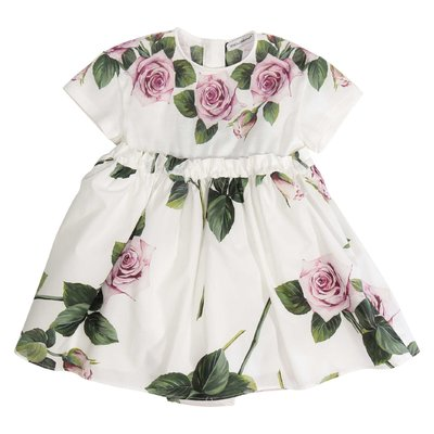 Tropical rose print cotton dress