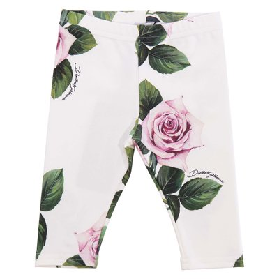 Floral print elastic cotton leggings