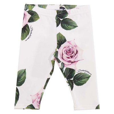 Leggings stampa floreale in cotone elasticizzato