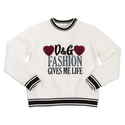 White D&G fashion gives me life logo detail cotton sweatshirt