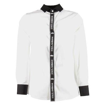 Camicia bianca in popeline di cotone con logo