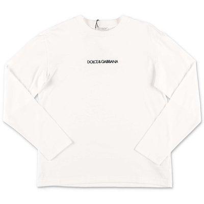 T-shirt bianca in jersey di cotone con lettering logo