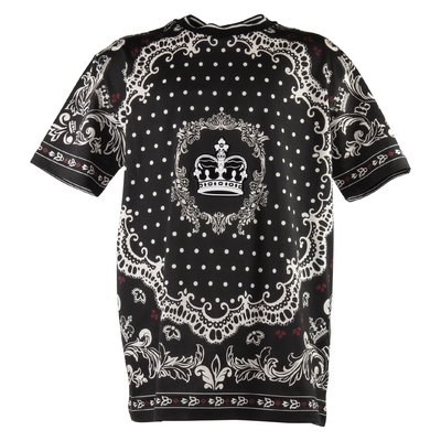 T-shirt nera tema DNA in jersey di cotone