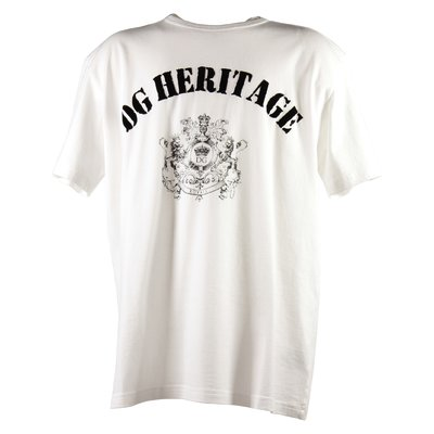 T-shirt bianca DG Heritage in jersey di cotone con dettaglio logo