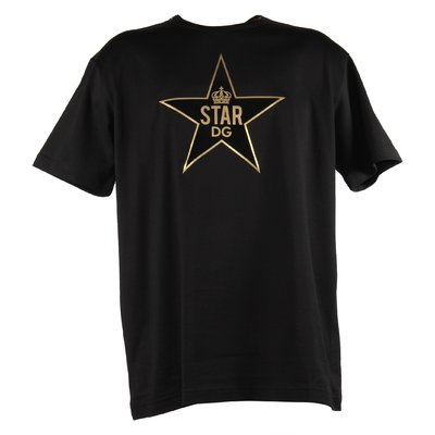 T-shirt nera Star DG in jersey di cotone