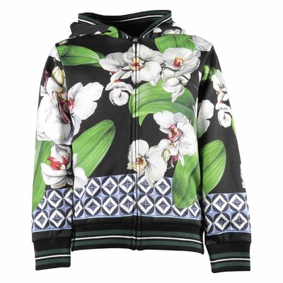 Floral print hoody cotton sweatshirt