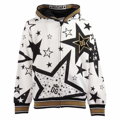 Millennials Star motif printed cotton hoodie