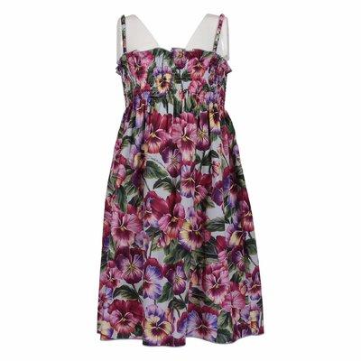 Blooming motif cotton poplin dress