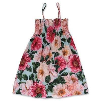 Dolce & Gabbana power pastel theme poplin cotton dress with camellias