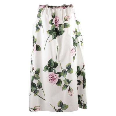 Abito bianco stampa floreale tema tropical rose in popeline di cotone