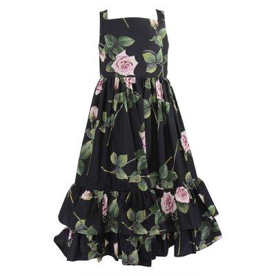 Black Tropical Rose cotton poplin dress