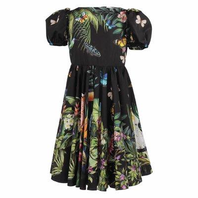 Black floral print cotton poplin dress