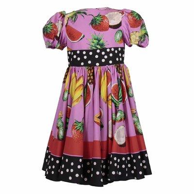 Flash motif printed cotton poplin dress