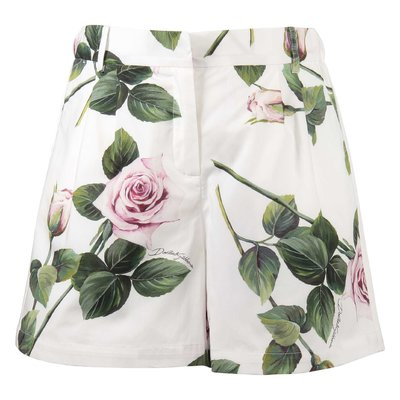 Shorts bianchi stampa floreale tema Tropical Rose in cotone