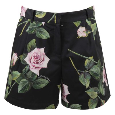 Shorts neri stampa floreale tema Tropical Rose in cotone