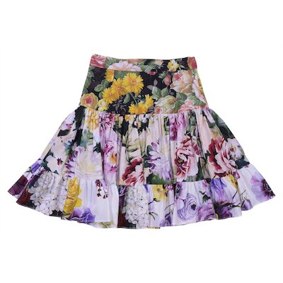 Floral print cotton poplin skirt
