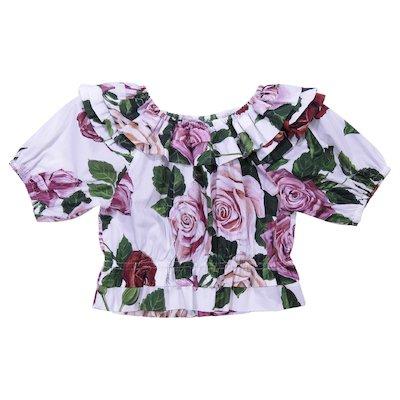 Blusa stampa floreale in popeline di cotone