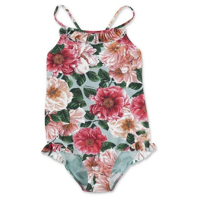 Dolce & Gabbana Power Pastel camellia print spandex one piece swimsuit