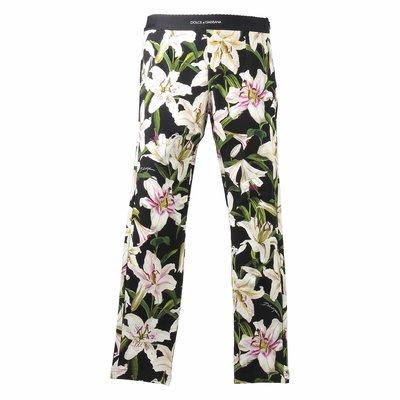 Floral print elastic cotton leggings
