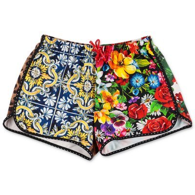 Dolce & Gabbana patchwork effect lycra swim shorts