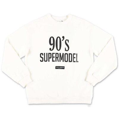 Dolce & Gabbana felpa bianca in cotone tema 90's