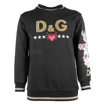 Logo & flower embroidery sweatshirt