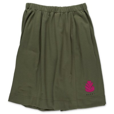 MARNI military green cotton sweat skirt