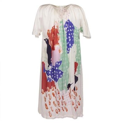 White multicolor print viscose dress