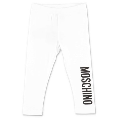 MOSCHINO leggings bianchi in cotone stretch