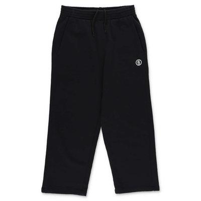 MM6 Maison Margiela pantaloni neri svasati in felpa di cotone