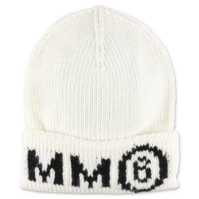 MM6 Maison Margiela cappello bianco in maglia di misto lana