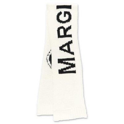 MM6 Maison Margiela sciarpa bianca in maglia di misto lana