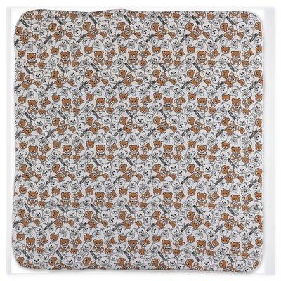Moschino white logo detail cotton blanket