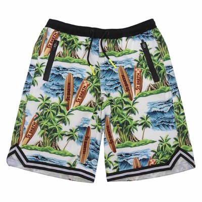 Costume shorts da mare stampa jungle in nylon