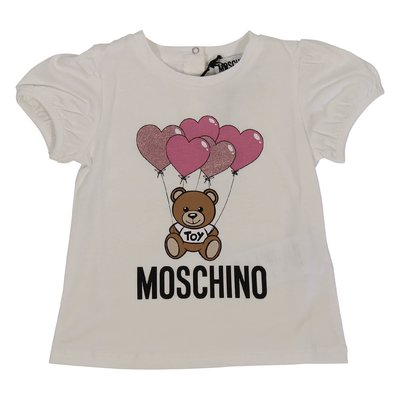 White Teddy Bear glitter cotton jersey t-shirt