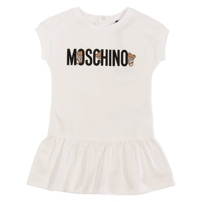 Moschino white logo detail cotton jersey dress