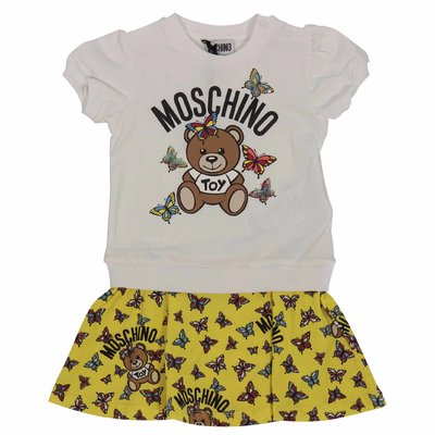 White and yellow cotton two-pieces effect Teddy Bear dress