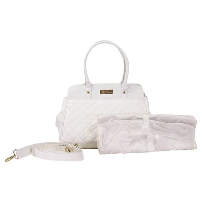 White faux leather changing bag