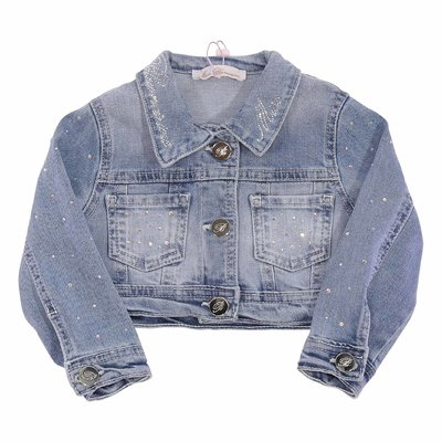 Stretch cotton denim jacket with crystals