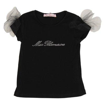 T-shirt nera in jersey di cotone con logo e dettaglio tulle