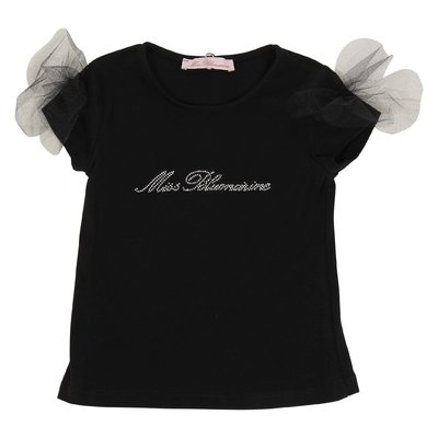 Black logo and tulle detail cotton jersey t-shirt