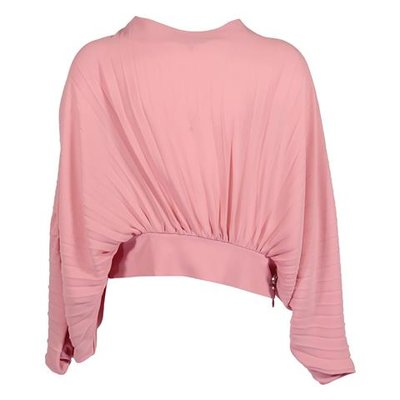 Miss Blumarine coral red crepe de chine pleated blouse
