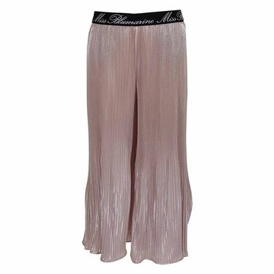 Powder pink techno fabric pleated wide pants