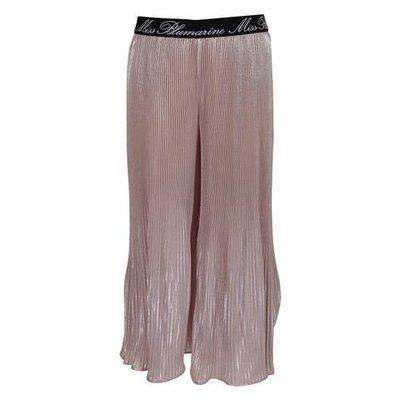 Pantaloni rosa cipria svasati in techno tessuto plissé
