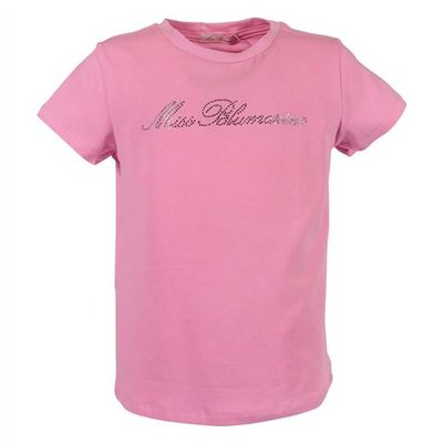 T-shirt rosa in jersey di cotone con logo