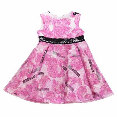 Abito rosa stampa floreale in techno tessuto con dettaglio logo