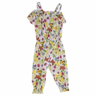 Floral print cotton poplin jumpsuit