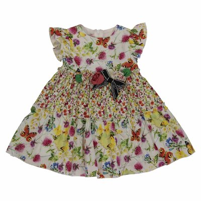 Floral print multicolor cotton poplin dress