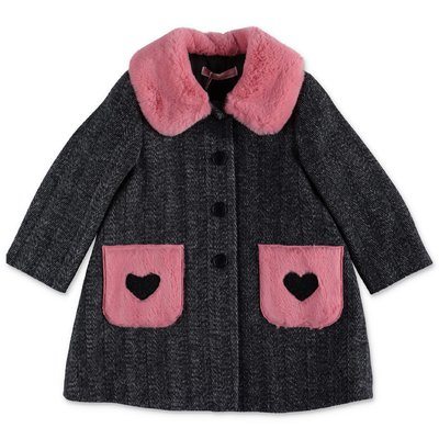 Miss Blumarine virgin wool faux fur details herringbone coat